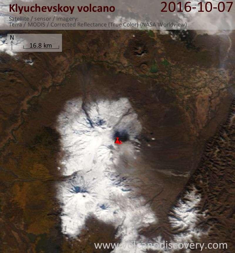 Satellite image of Klyuchevskoy volcano on  7 Oct 2016