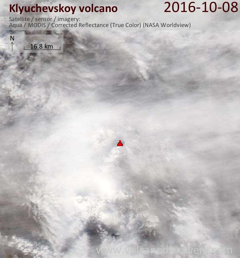 Satellite image of Klyuchevskoy volcano on  8 Oct 2016