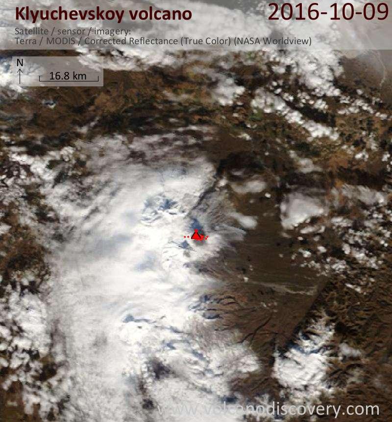 Satellite image of Klyuchevskoy volcano on  9 Oct 2016