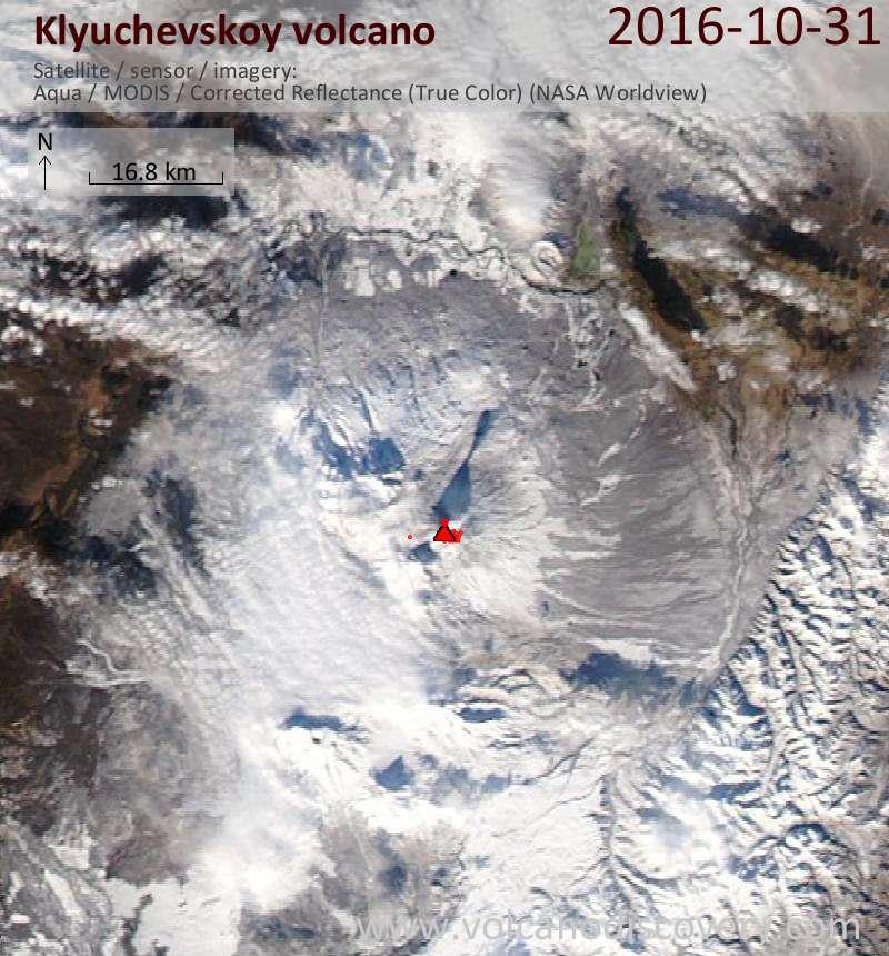 Satellite image of Klyuchevskoy volcano on  1 Nov 2016
