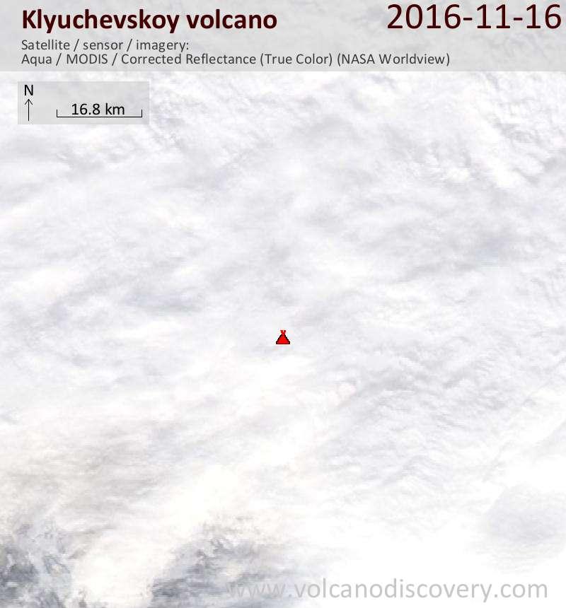 Satellite image of Klyuchevskoy volcano on 16 Nov 2016