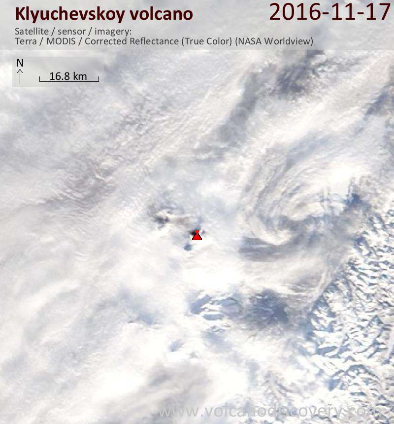 Satellite image of Klyuchevskoy volcano on 17 Nov 2016