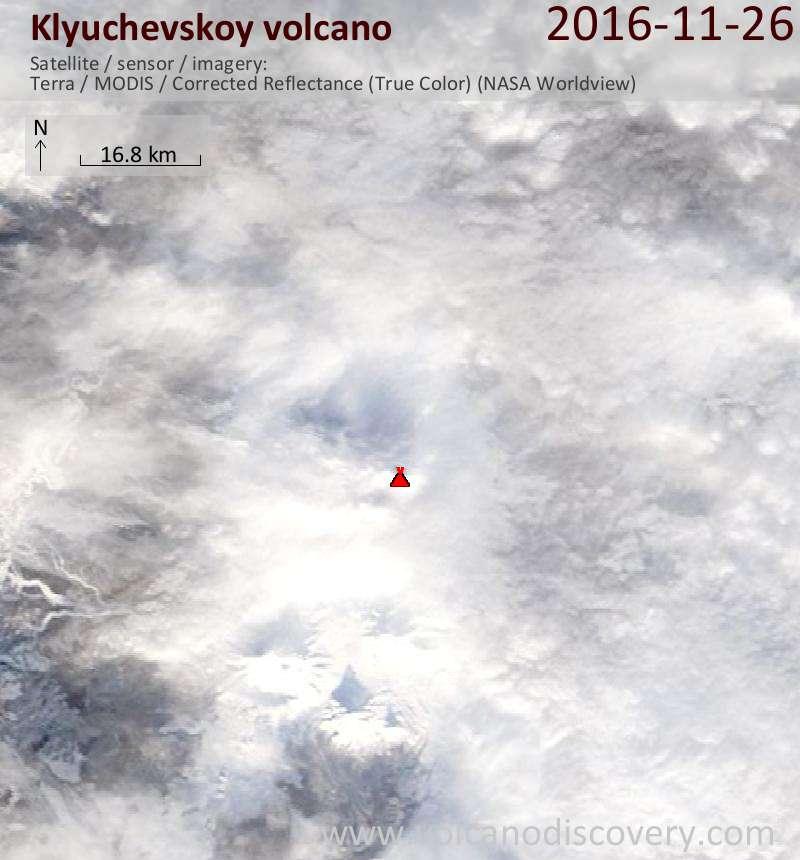 Satellite image of Klyuchevskoy volcano on 26 Nov 2016