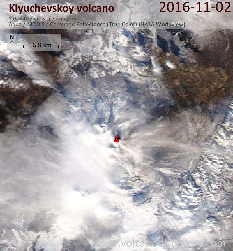Satellite image of Klyuchevskoy volcano on  3 Nov 2016