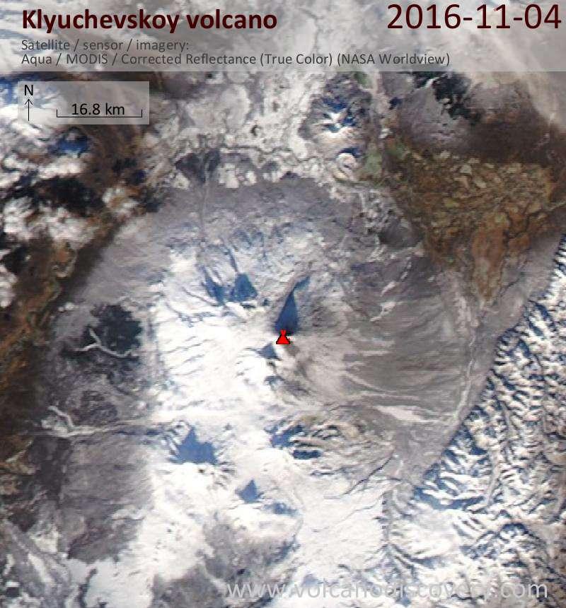 Satellite image of Klyuchevskoy volcano on  4 Nov 2016