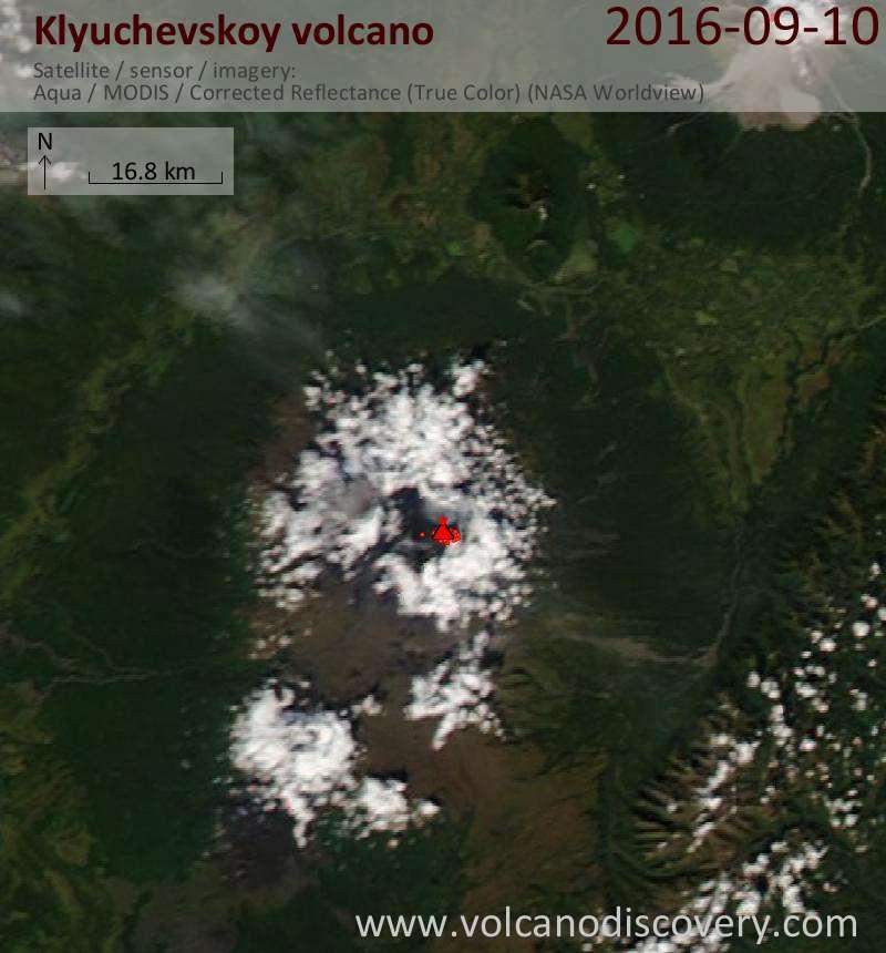 Satellite image of Klyuchevskoy volcano on 10 Sep 2016