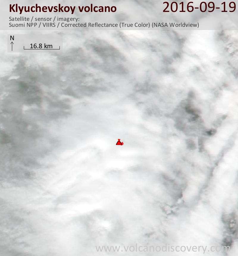 Satellite image of Klyuchevskoy volcano on 19 Sep 2016
