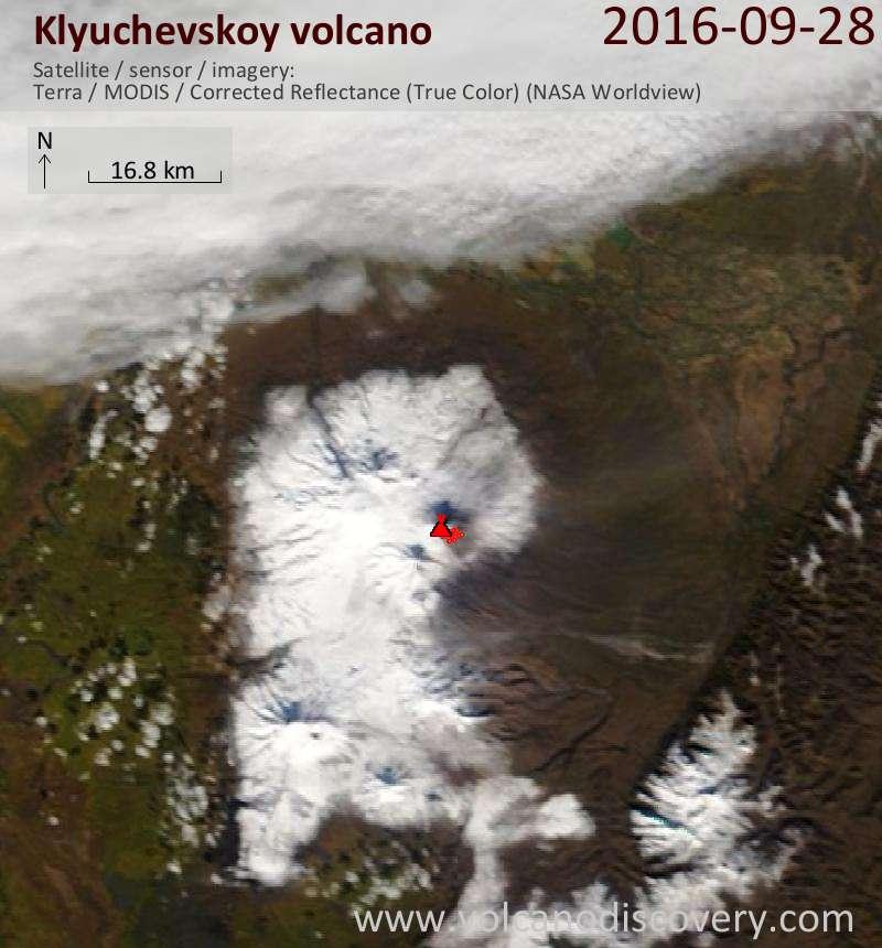 Satellite image of Klyuchevskoy volcano on 29 Sep 2016