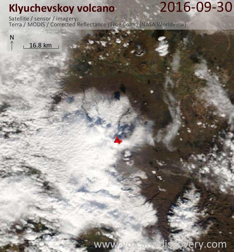Satellite image of Klyuchevskoy volcano on 30 Sep 2016