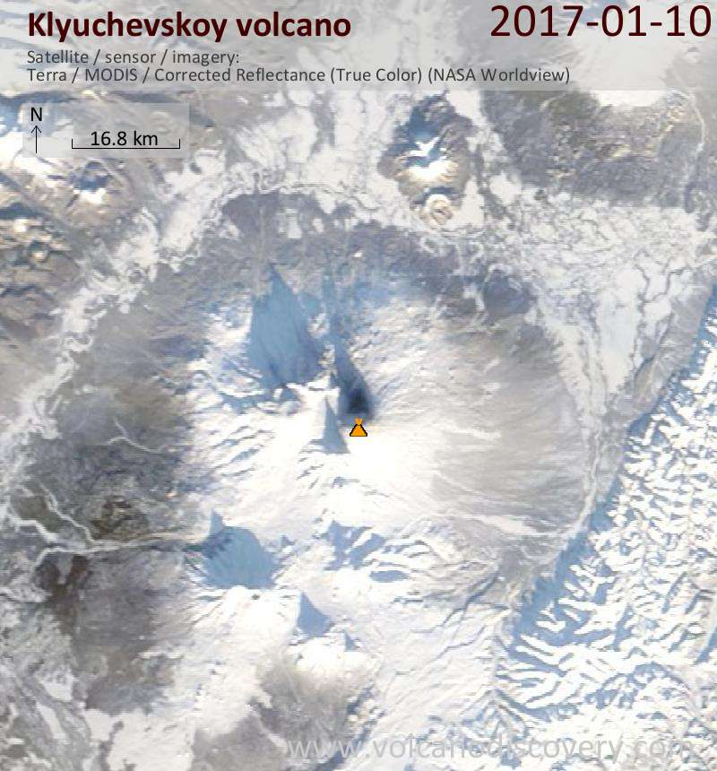 Satellite image of Klyuchevskoy volcano on 10 Jan 2017