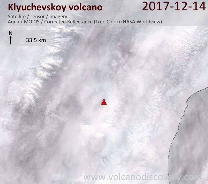 Satellite image of Klyuchevskoy volcano on 14 Dec 2017