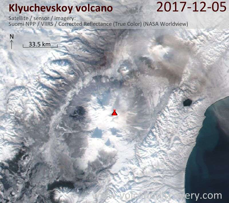 Satellite image of Klyuchevskoy volcano on  5 Dec 2017