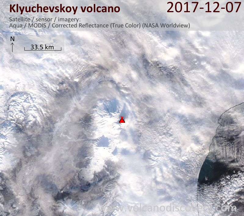 Satellite image of Klyuchevskoy volcano on  8 Dec 2017