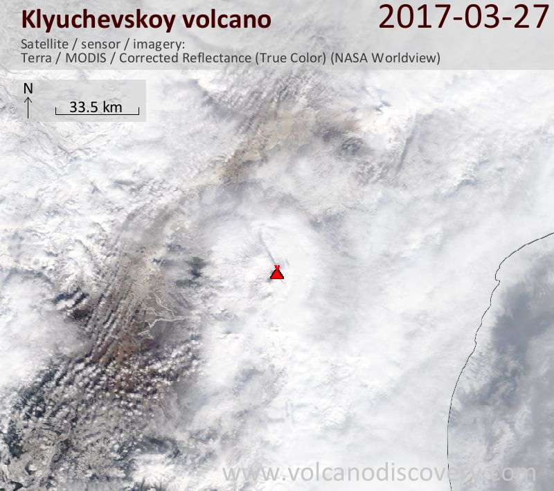 Satellite image of Klyuchevskoy volcano on 27 Mar 2017