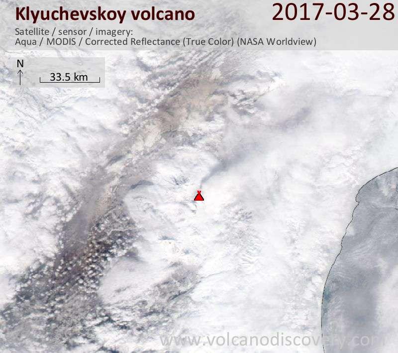 Satellite image of Klyuchevskoy volcano on 28 Mar 2017
