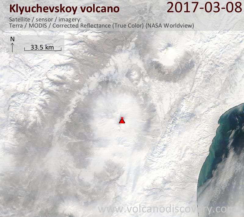 Satellite image of Klyuchevskoy volcano on  9 Mar 2017
