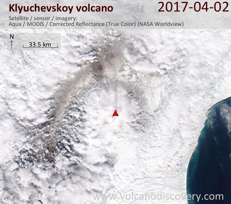 Satellite image of Klyuchevskoy volcano on  2 Apr 2017
