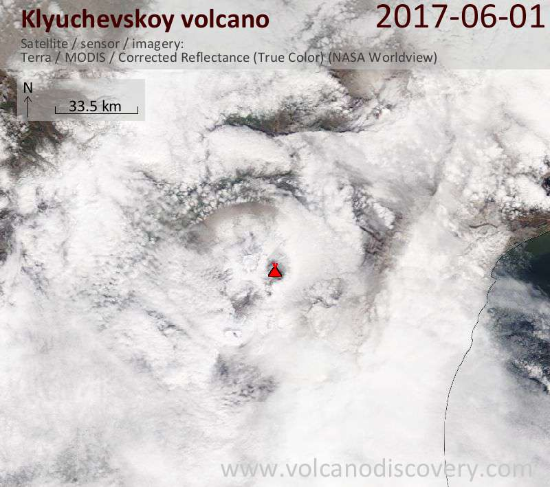 Satellite image of Klyuchevskoy volcano on  1 Jun 2017