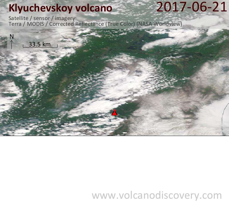 Satellite image of Klyuchevskoy volcano on 21 Jun 2017