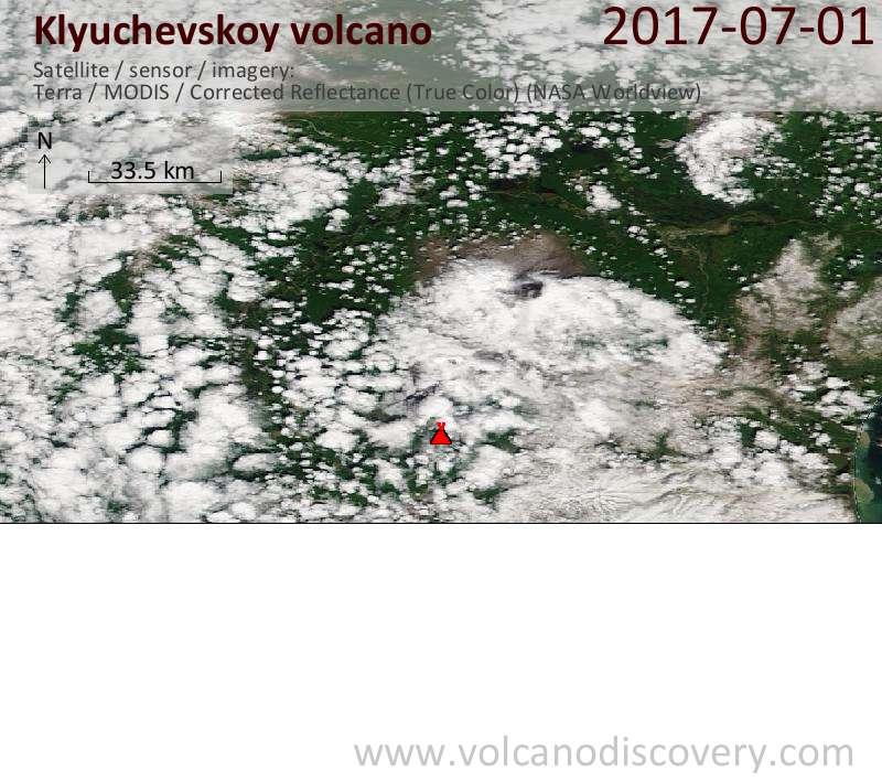 Satellite image of Klyuchevskoy volcano on  1 Jul 2017