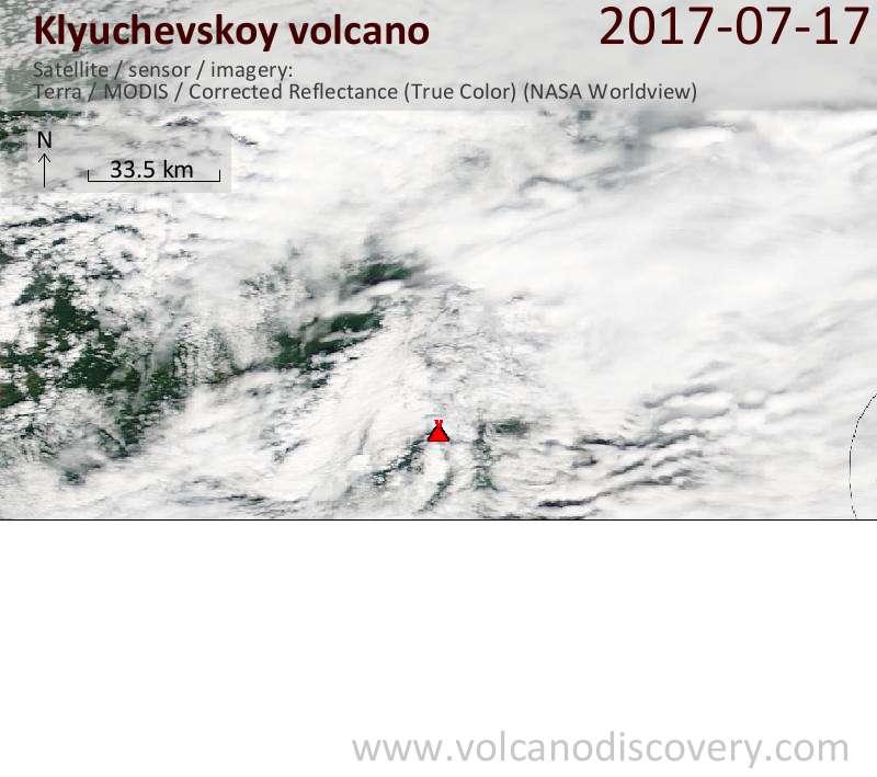 Satellite image of Klyuchevskoy volcano on 17 Jul 2017
