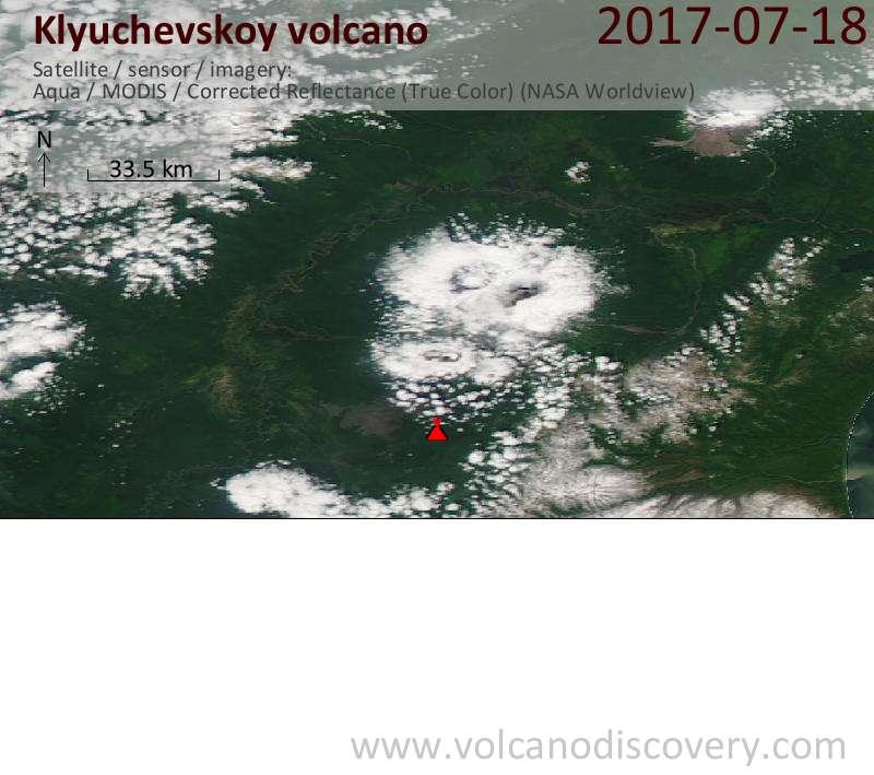 Satellite image of Klyuchevskoy volcano on 18 Jul 2017