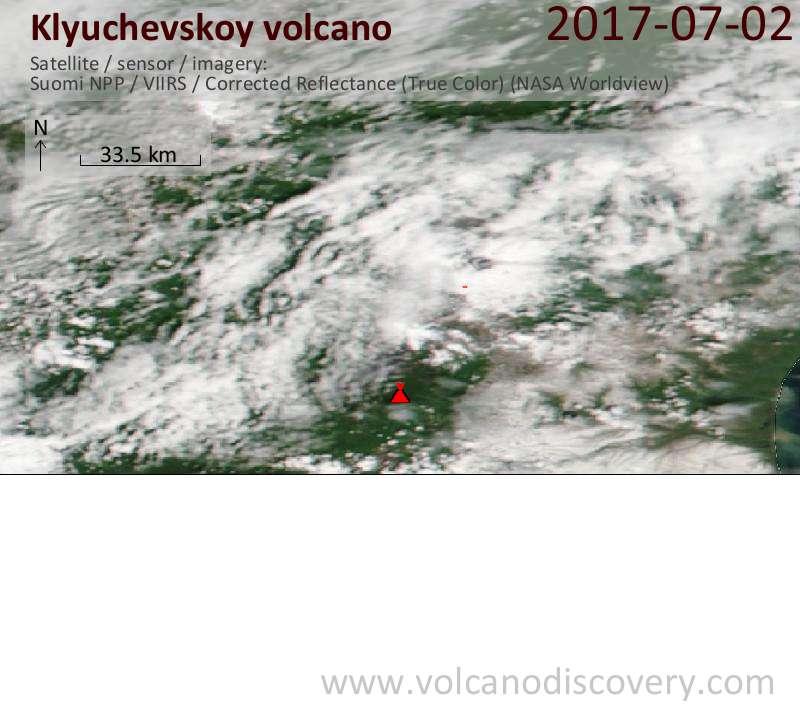 Satellite image of Klyuchevskoy volcano on  2 Jul 2017