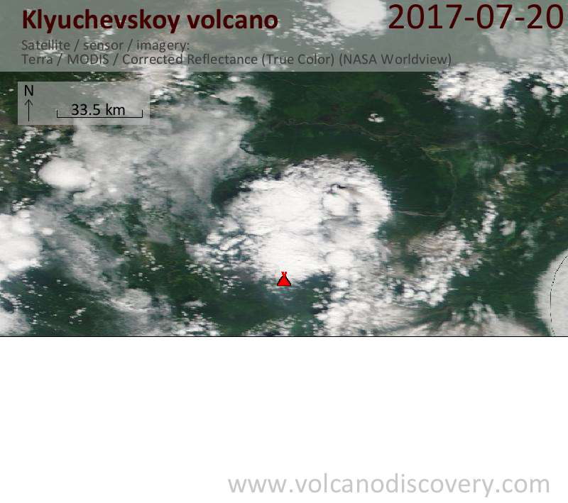 Satellite image of Klyuchevskoy volcano on 20 Jul 2017