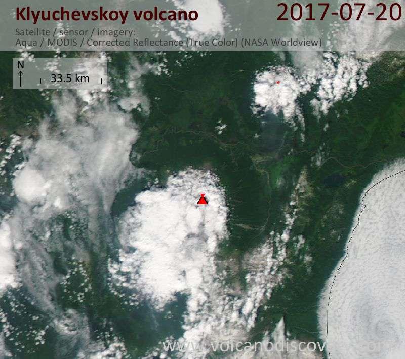 Satellite image of Klyuchevskoy volcano on 21 Jul 2017
