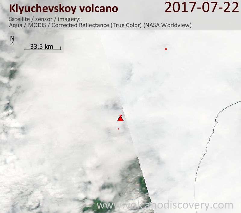 Satellite image of Klyuchevskoy volcano on 22 Jul 2017
