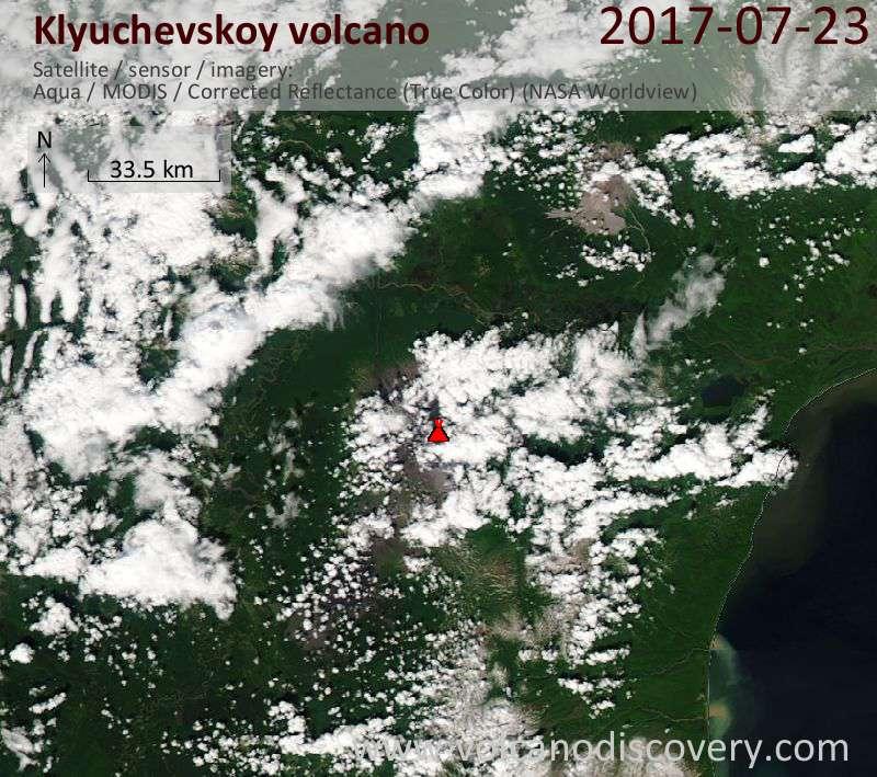Satellite image of Klyuchevskoy volcano on 23 Jul 2017