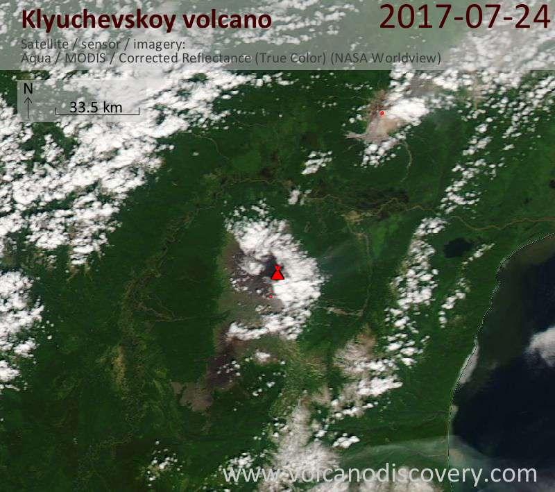 Satellite image of Klyuchevskoy volcano on 24 Jul 2017