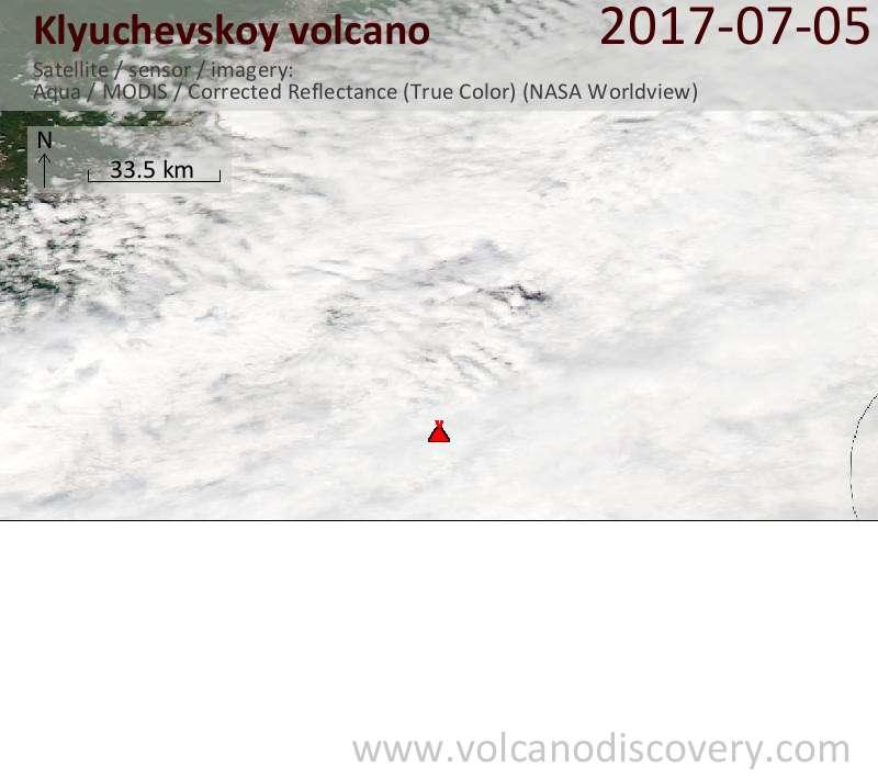 Satellite image of Klyuchevskoy volcano on  5 Jul 2017