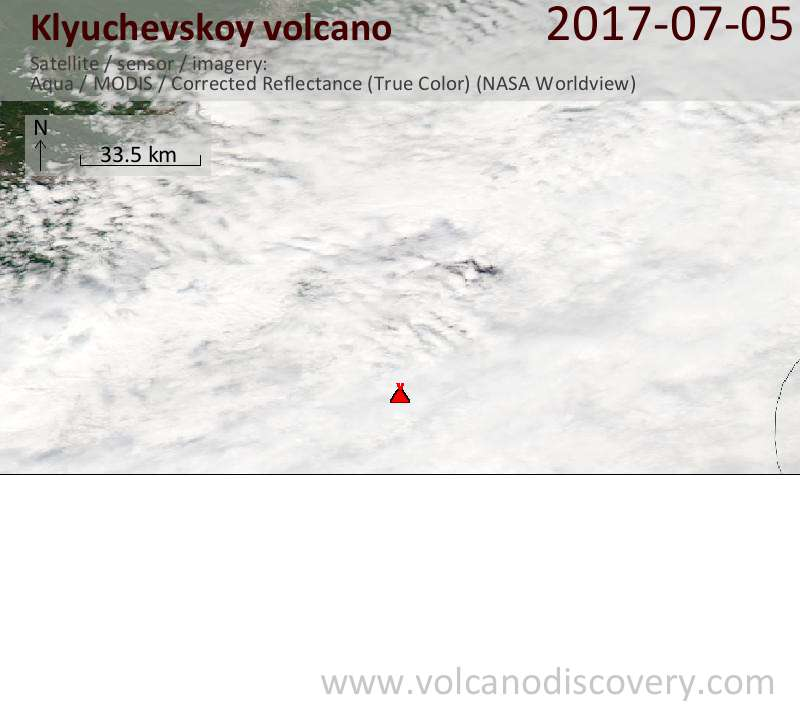 Satellite image of Klyuchevskoy volcano on  6 Jul 2017