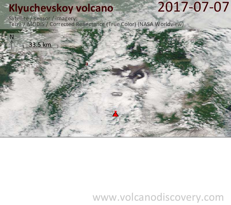 Satellite image of Klyuchevskoy volcano on  7 Jul 2017