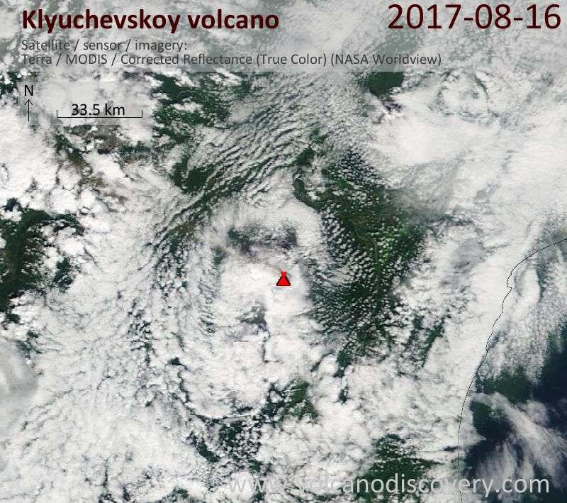 Satellite image of Klyuchevskoy volcano on 16 Aug 2017
