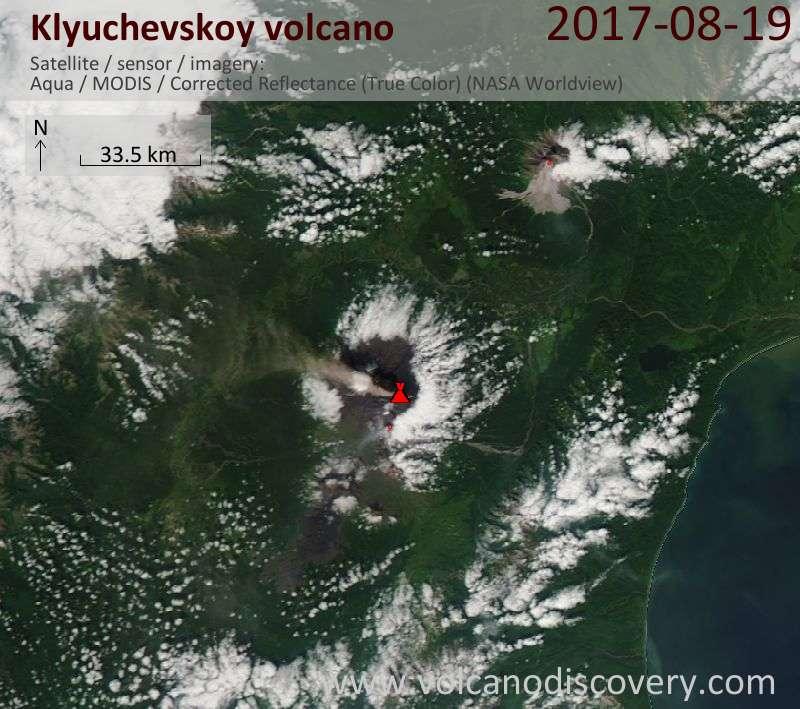 Satellite image of Klyuchevskoy volcano on 19 Aug 2017
