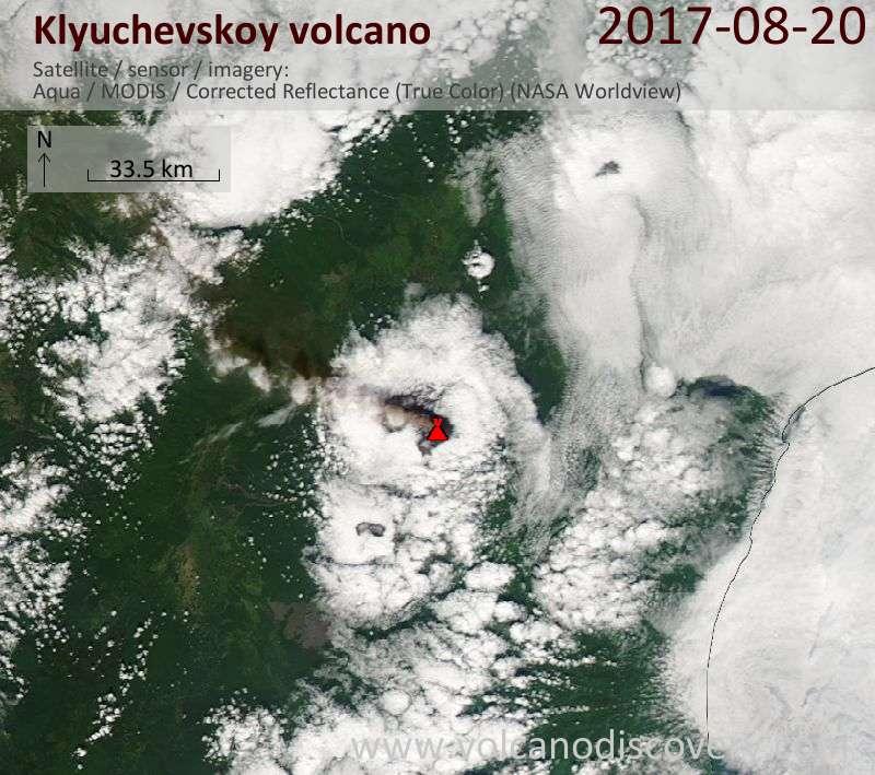Satellite image of Klyuchevskoy volcano on 20 Aug 2017