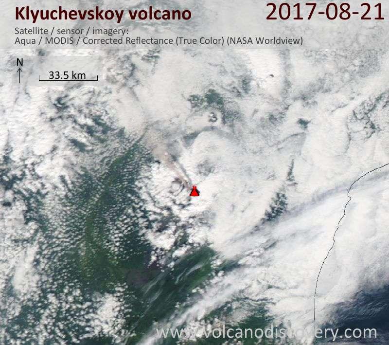 Satellite image of Klyuchevskoy volcano on 21 Aug 2017