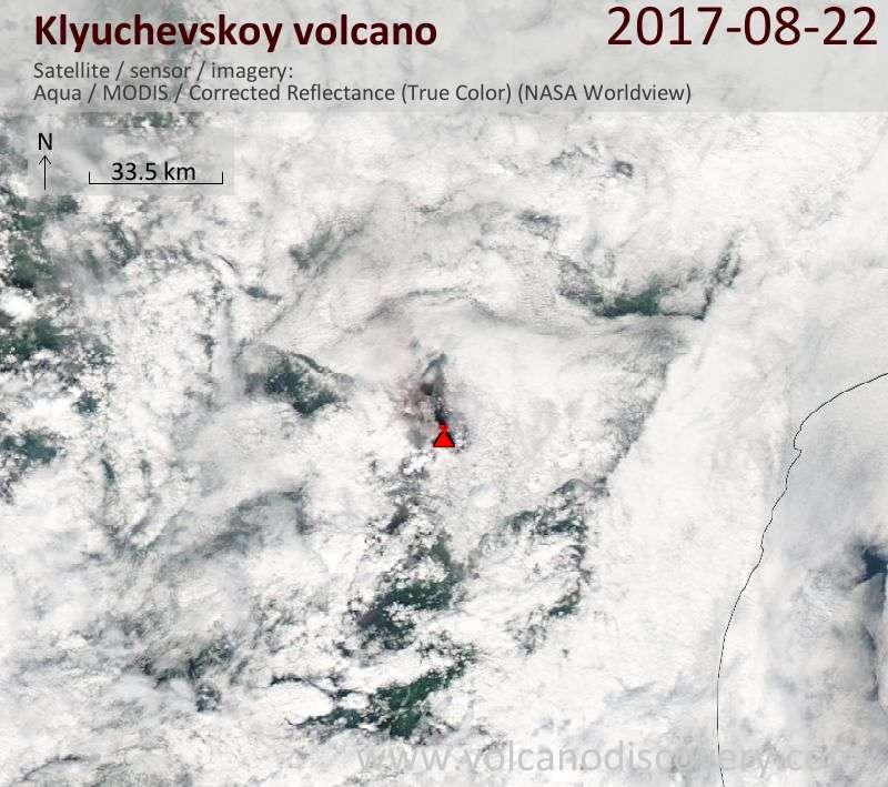 Satellite image of Klyuchevskoy volcano on 22 Aug 2017