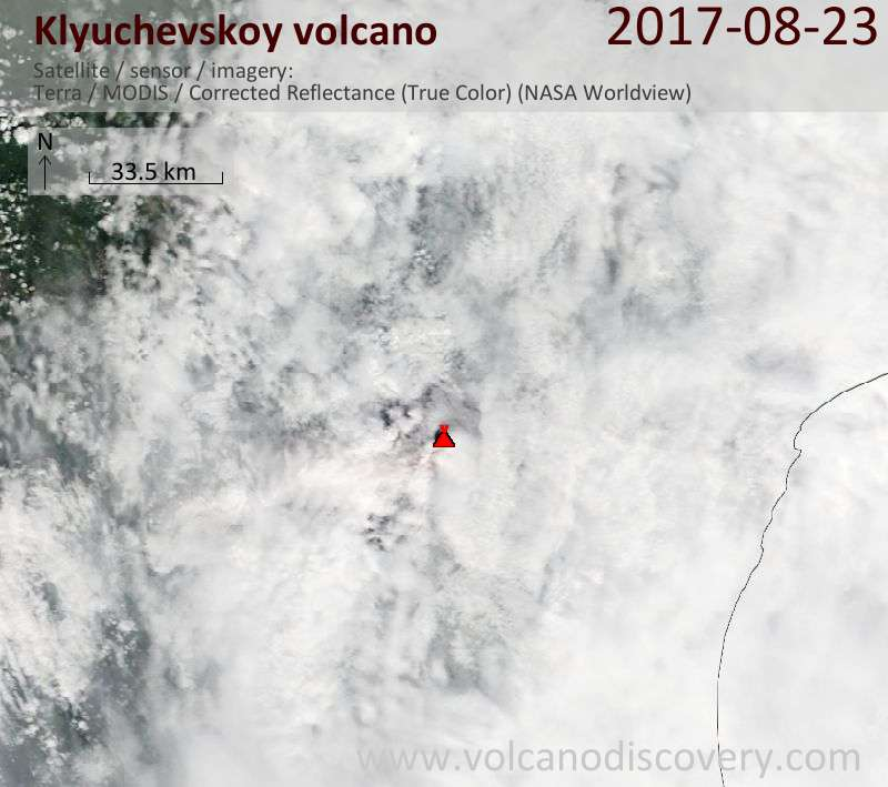 Satellite image of Klyuchevskoy volcano on 23 Aug 2017
