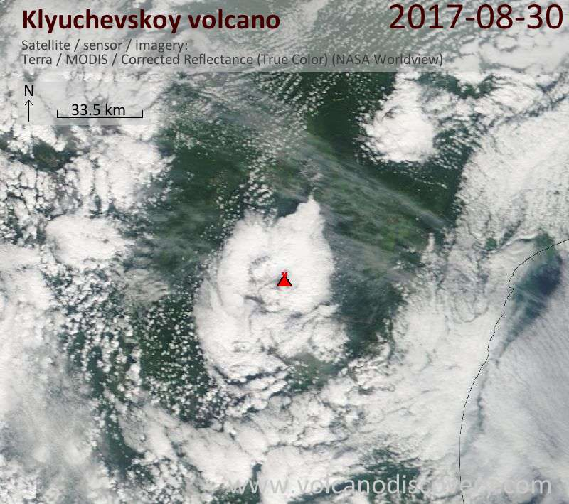 Satellite image of Klyuchevskoy volcano on 30 Aug 2017