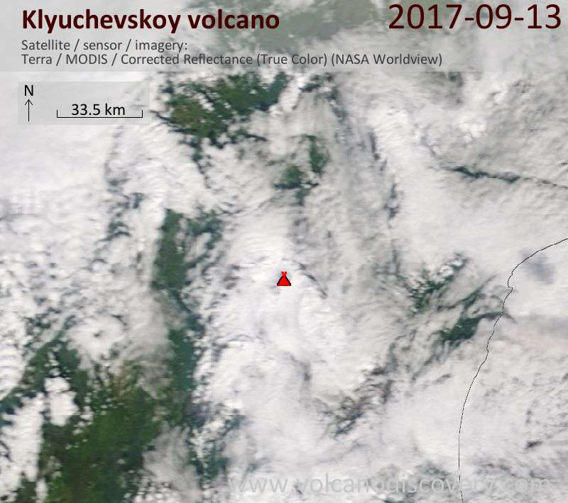 Satellite image of Klyuchevskoy volcano on 13 Sep 2017
