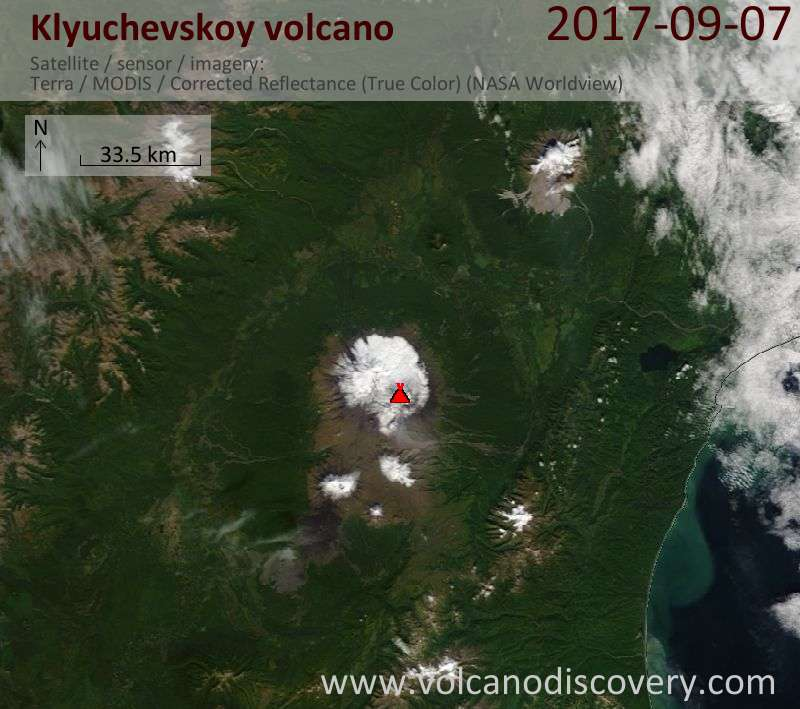 Satellite image of Klyuchevskoy volcano on  7 Sep 2017