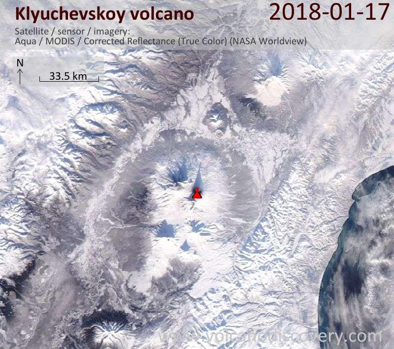 Satellite image of Klyuchevskoy volcano on 17 Jan 2018
