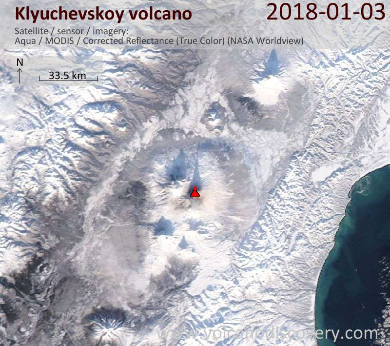 Satellite image of Klyuchevskoy volcano on  3 Jan 2018