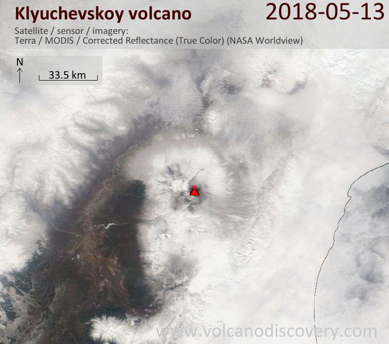Satellite image of Klyuchevskoy volcano on 13 May 2018