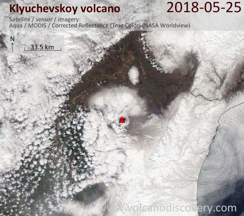 Satellite image of Klyuchevskoy volcano on 25 May 2018