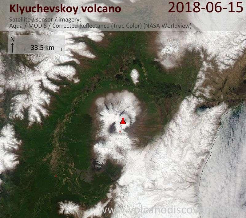 Satellite image of Klyuchevskoy volcano on 15 Jun 2018