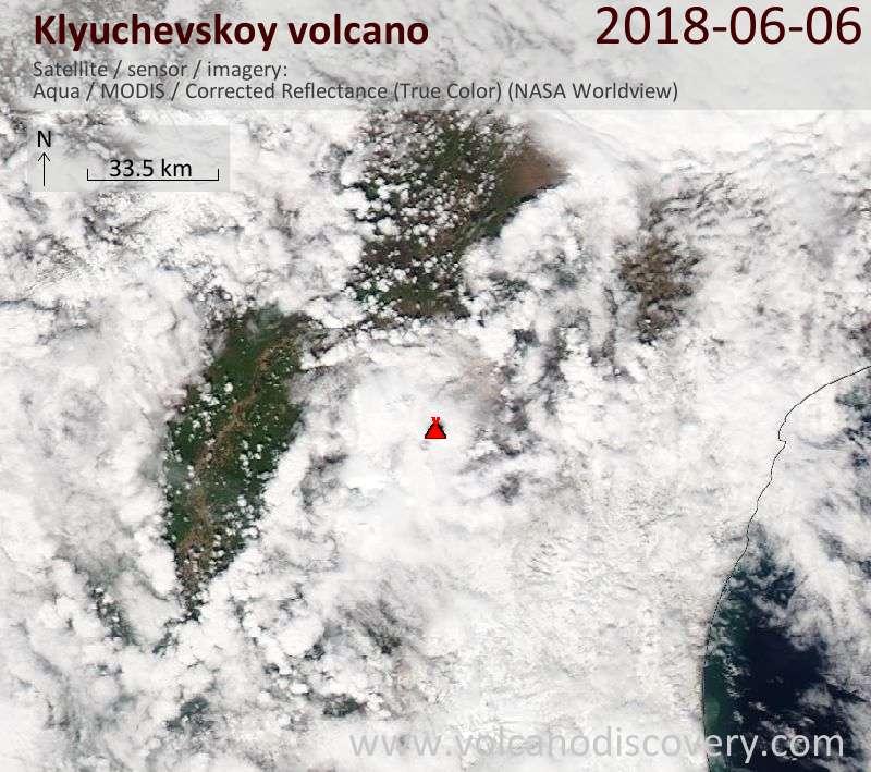 Satellite image of Klyuchevskoy volcano on  6 Jun 2018